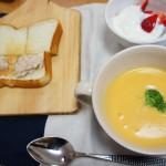 かぼちゃスープ、ツナトースト
